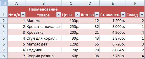 в Excel