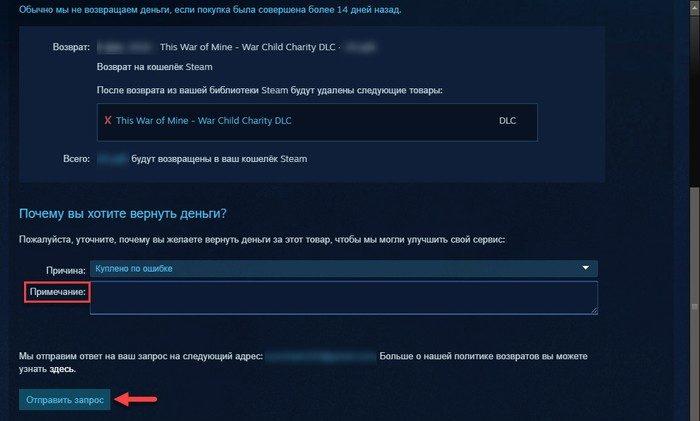 вернуть деньги за игру в Steam